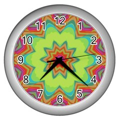 Abstract Art Abstract Background Pattern Wall Clock (silver)