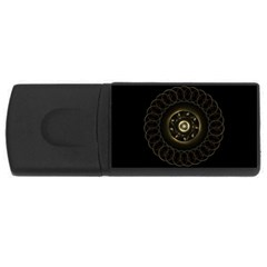 Fractal Gold Mandala Fractal Art Rectangular Usb Flash Drive by Simbadda
