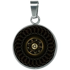 Fractal Gold Mandala Fractal Art 20mm Round Necklace by Simbadda