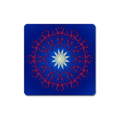 Mandala Abstract Fractal Patriotic Square Magnet by Simbadda