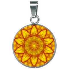 Kaleidoscope Floral Mandala Yellow 20mm Round Necklace by Simbadda
