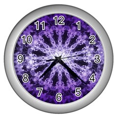 Fractal Mandala Background Purple Wall Clock (silver)