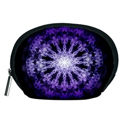 Fractal Mandala Background Purple Accessory Pouch (medium) by Simbadda