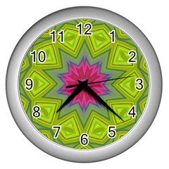 Green Pink Abstract Art Abstract Background Wall Clock (silver)