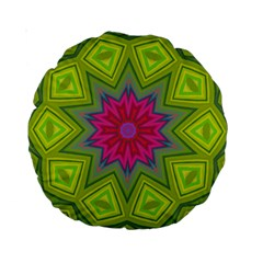 Green Pink Abstract Art Abstract Background Standard 15  Premium Round Cushions by Simbadda