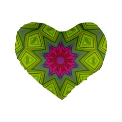 Green Pink Abstract Art Abstract Background Standard 16  Premium Heart Shape Cushions