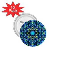 Mandala Blue Abstract Circle 1 75  Buttons (10 Pack) by Simbadda