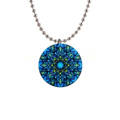 Mandala Blue Abstract Circle 1  Button Necklace by Simbadda