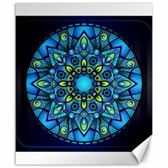 Mandala Blue Abstract Circle Canvas 20  X 24
