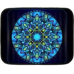 Mandala Blue Abstract Circle Fleece Blanket (mini) by Simbadda