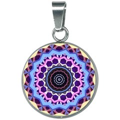 Mandala Art Design Pattern 20mm Round Necklace by Simbadda