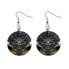 Fractal Art Artwork Design Pattern Mini Button Earrings