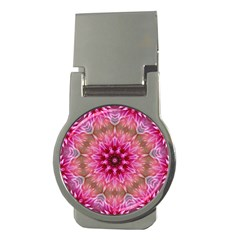 Flower Mandala Art Pink Abstract Money Clips (round)  by Simbadda