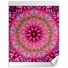 Flower Mandala Art Pink Abstract Canvas 12  X 16  by Simbadda