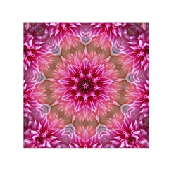 Flower Mandala Art Pink Abstract Small Satin Scarf (square) by Simbadda