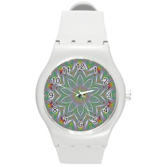 Abstract Art Colorful Texture Round Plastic Sport Watch (m) by Simbadda