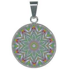 Abstract Art Colorful Texture 25mm Round Necklace by Simbadda