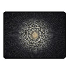 Fractal Mandala Feathers Grey Double Sided Fleece Blanket (small)  by Simbadda