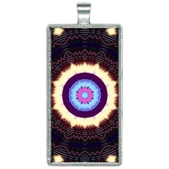 Mandala Art Design Pattern Rectangle Necklace by Simbadda