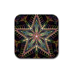 Star Mandala Pattern Design Doodle Rubber Coaster (square)