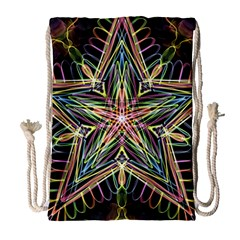 Star Mandala Pattern Design Doodle Drawstring Bag (large) by Simbadda