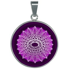 Mandala Mallow Circle Abstract 30mm Round Necklace