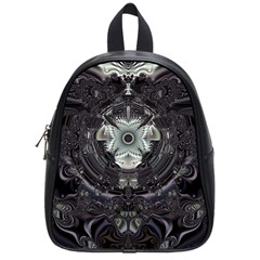 Black And White Fractal Art Artwork Design School Bag (small) by Simbadda