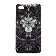 Black And White Fractal Art Artwork Design Apple Iphone 4/4s Seamless Case (black) by Simbadda