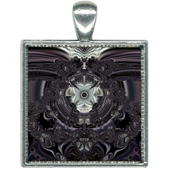 Black And White Fractal Art Artwork Design Square Necklace by Simbadda