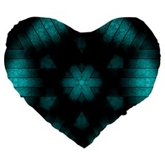Abstract Pattern Black Green Large 19  Premium Flano Heart Shape Cushions