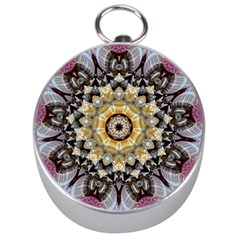 Abstract Art Texture Mandala Silver Compasses