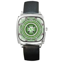 Ractal Mandala Green Purple Square Metal Watch by Simbadda