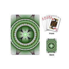 Ractal Mandala Green Purple Playing Cards (mini) by Simbadda