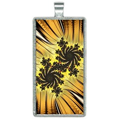Fractal Art Colorful Pattern Rectangle Necklace by Simbadda