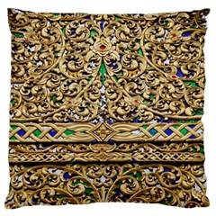 Gold Pattern Decoration Golden Large Flano Cushion Case (one Side) by Simbadda
