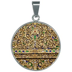 Gold Pattern Decoration Golden 30mm Round Necklace by Simbadda