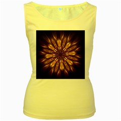 Mandala Gold Golden Fractal Women s Yellow Tank Top
