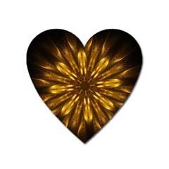 Mandala Gold Golden Fractal Heart Magnet by Simbadda
