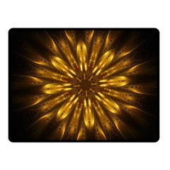 Mandala Gold Golden Fractal Fleece Blanket (small)