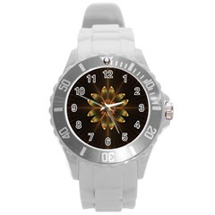Fractal Floral Mandala Abstract Round Plastic Sport Watch (l)