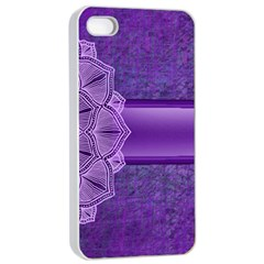 Background Mandala Purple Ribbon Apple Iphone 4/4s Seamless Case (white) by Simbadda
