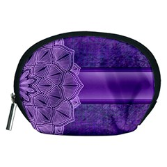 Background Mandala Purple Ribbon Accessory Pouch (medium) by Simbadda