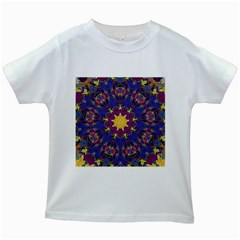 Abstract Art Artistic Texture Blue Kids White T Shirts
