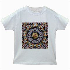 Abstract Art Texture Mandala Kids White T Shirts
