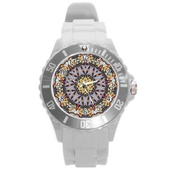 Abstract Art Texture Mandala Round Plastic Sport Watch (l)