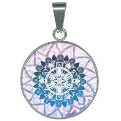 Mandalas Symmetry Meditation Round 25mm Round Necklace by Simbadda