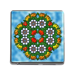 Mandala Background Colorful Pattern Memory Card Reader (square 5 Slot)