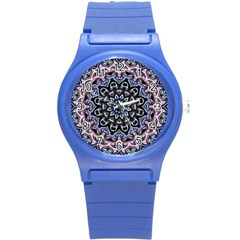 Background Kaleidoscope Abstract Round Plastic Sport Watch (s) by Simbadda