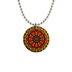 Fractal Mandala Flowers 1  Button Necklace by Simbadda