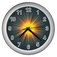 Background Mandala Sun Rays Wall Clock (silver)